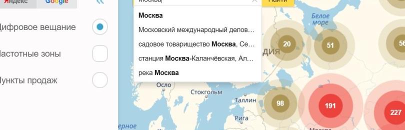 Карта охвата ЦЭТВ